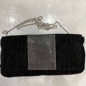 BRAND NEW Black Clutch Bag With Silver Rhinestones